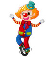 happy clown cycling wheel on white background vector image vector image