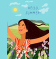 hello summer happy joyful face girl on the vector image vector image