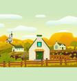 horizontal spring village landscape vector image vector image