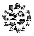 insurance icons set simple style vector image vector image