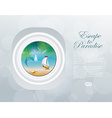 Island view through aircraft porthole eps1 vector image
