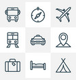 journey outline icons set collection of canopy vector image vector image