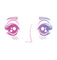 line anime girl face expression vector image