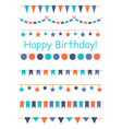 multicolored bright buntings garlands isolated vector image