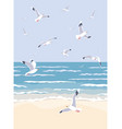 nature background with sea waves beach and vector image
