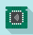 nfc chip icon flat style vector image vector image