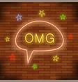 omg neon light orange brick wall background vector image vector image