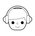 person with earphones device isolated icon vector image