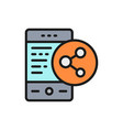 phone with social media link share vector image
