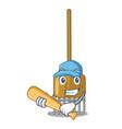 playing baseball rake character cartoon style vector image vector image
