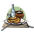 potato pancakes with sour cream vector image vector image
