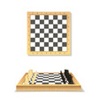 realistic detailed 3d wooden chessboard set vector image vector image