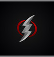 red silver lightning bolt thunder sign vector image vector image