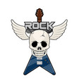 rock music label with a skull and electric guitar vector image
