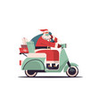 santa claus driving scooter delivering gifts merry vector image vector image