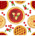 seamless pattern with cranberry pies the theme of vector image