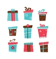 set of nine Christmas gifts on white background vector image vector image