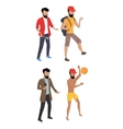Set Summer Male Characters vector image vector image