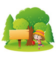 sign template with girl in garden vector image vector image
