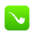 smoking pipe icon digital green vector image vector image