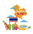 songkran festival thailand map landmark flag vector image vector image