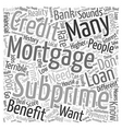 Subprime Mortgages Word Cloud Concept vector image vector image