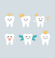 tooth fairies with crowns and wings flat vector image