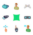 vr icons set cartoon style vector image vector image