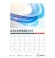 Wall Calendar Planner Template for 2017 Year vector image vector image