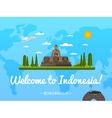 Welcome to Indonesia poster with famous attraction vector image vector image