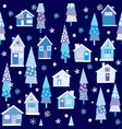 winter seamless background with houses and trees vector image vector image