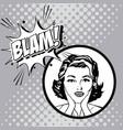 woman comic pop art expression vector image vector image