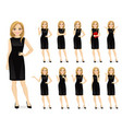 woman in black dress character set vector image