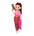 woman in thai clothings is holding water gun vector image vector image