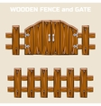 wooden fence and gate vector image vector image