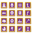 zombie icons set purple vector image vector image