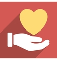 Heart Charity Hand Flat Long Shadow Square Icon vector image