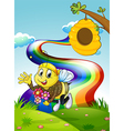 A rainbow at the hilltop with a bee and a beehive vector image vector image