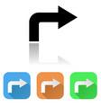 arrow icon colored set of right corner arrow vector image vector image