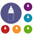 baby milk bottle icons set vector image vector image