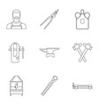 blacksmith profession icon set outline style vector image vector image