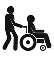 boy take wheelchair man icon simple style vector image vector image
