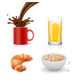 breakfast icons croissant oatmeal coffee juice vector image vector image