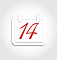 Calendar icon for Valentines day on 14th february vector image