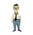 chinese in office style clothes cartoon vector image