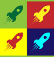 color rocket ship with fire icon isolated on color vector image vector image