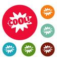 comic boom cool icons circle set vector image