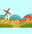 cow on the background of summer rural landscape vector image