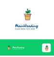 creative plant pot logo design flat color logo vector image