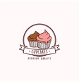 cupcakes bakery and dessert logo sign template vector image vector image